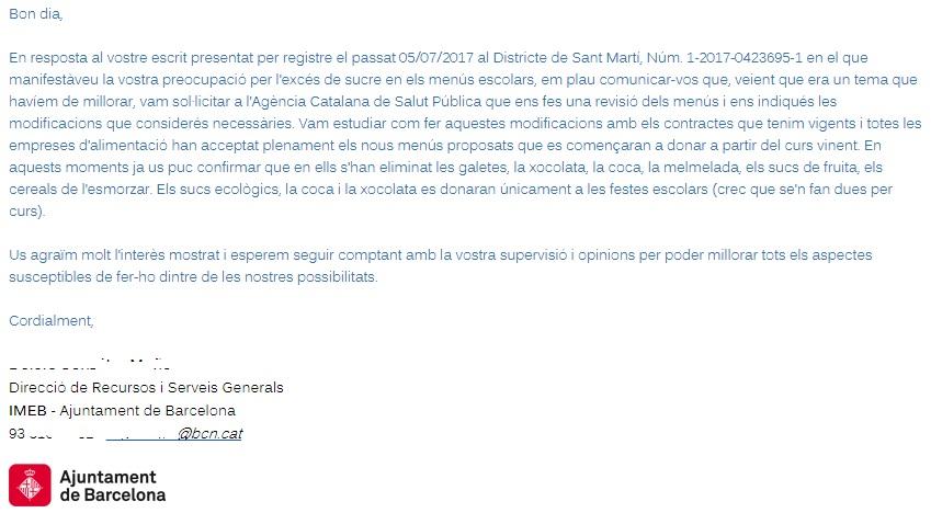 Resposta de l'Ajuntament a l'instáncia de l'AFA