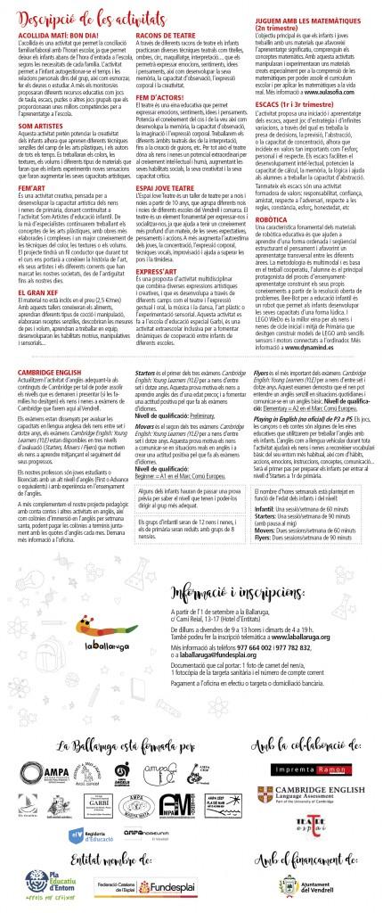DESPLEGABLE EXTRAESCOLARS LA BALLARUGA 15-162